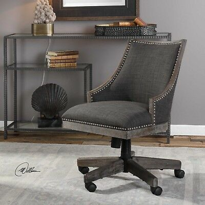 CHARCOAL GRAY LINEN NAIL TRIM WOOD FRAME OFFICE DESK CHAIR W
