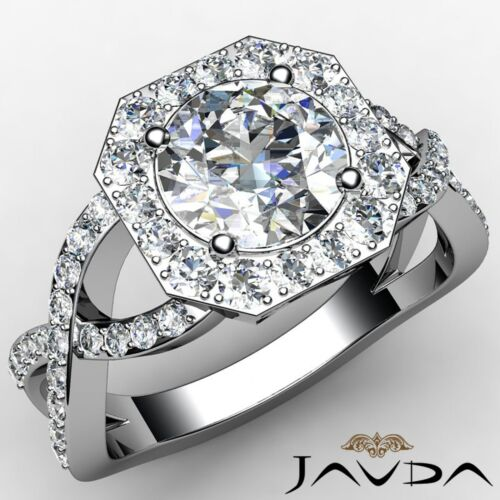 Round Diamond Engagement Halo Curve Shank Ring GIA F VS1 14k White Gold 2.13ct