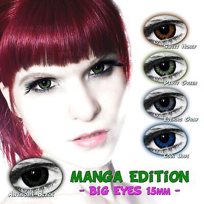 BIG EYES 15mm Manga Edition farbige Kontaktlinsen MIT & OHNE STÄRKE 3 (Big Eyes Kontaktlinsen)
