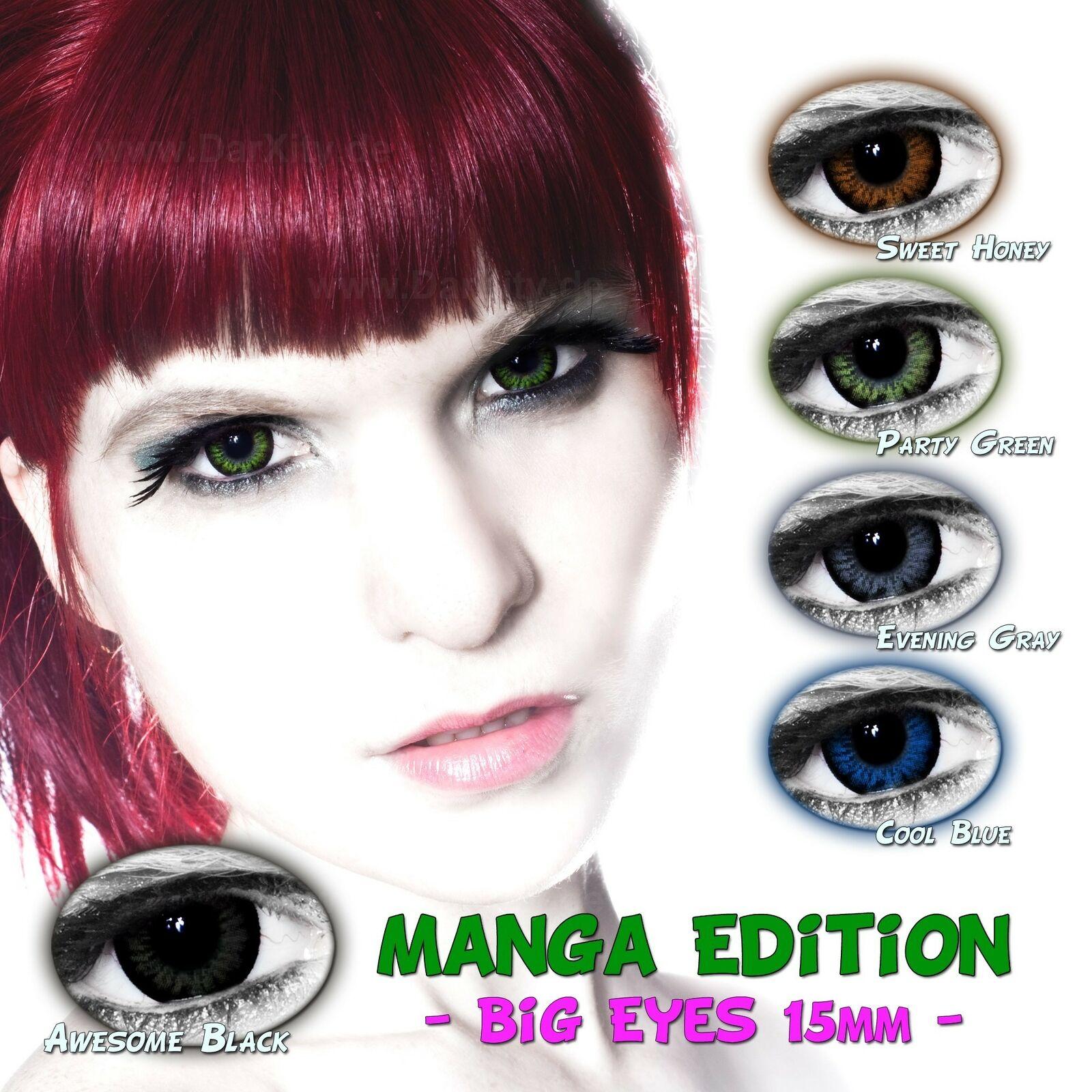 BIG EYES 15mm Manga Edition farbige Kontaktlinsen MIT & OHNE STÄRKE 3 Monats