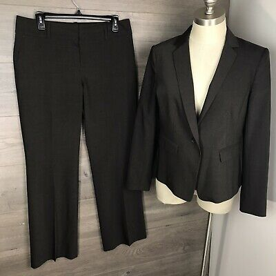 "Ann Taylor Women Size 8P/10P Petite Pant Suit Brown Lined Wool Blend 30"" Inseam"