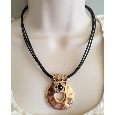 Chicos Black Leather Multi Cord Necklace & Gold Circle Pendant 18