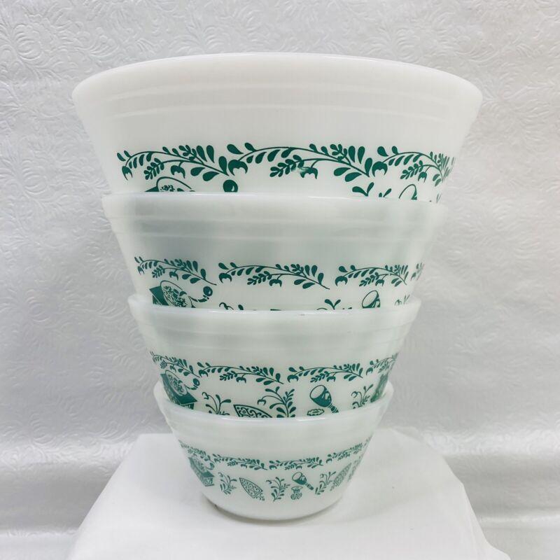 4 Vintage Federal Milk Glass Teal Scandinavian Pattern Nesting Bowls Retro MCM