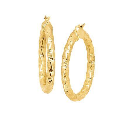 Italian-Made Diamond Cut Hoop Earrings in 18K Gold-Plated Br