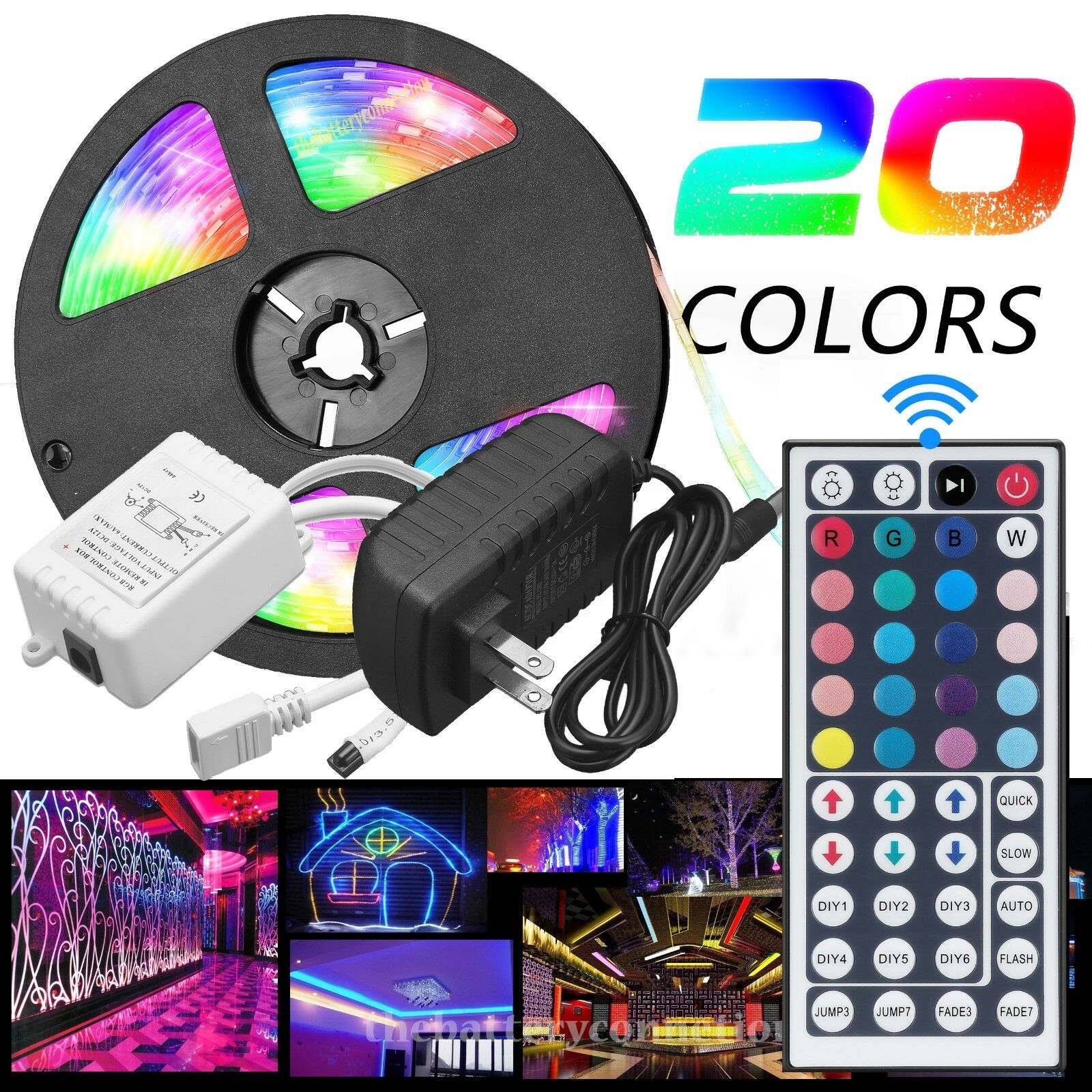 Led - 5M RGB 5050 Waterproof LED Strip light SMD 44 Key Remote 12V US Power Full Kit