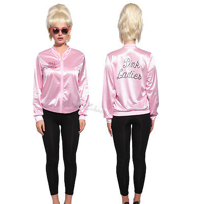 Retro 1950s Grease Pink Ladies Jacket Costume TShirt Party Fancy Dress Size 6-24 - 1950s Girl Costume