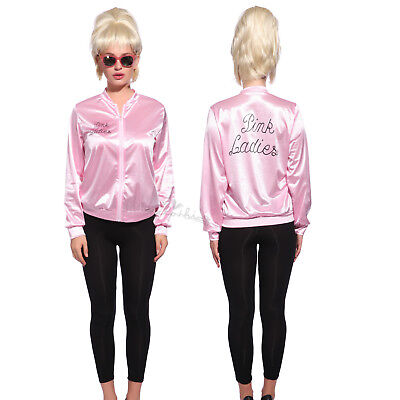 Retro 1950s Grease Pink Ladies Jacket Costume TShirt Party Fancy Dress Size 6-24](Pink Lady Jacket Grease)