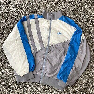 Vintage 80s 90s Nike Track Jacket Men's Medium Lined Windbreaker Color Block OG
