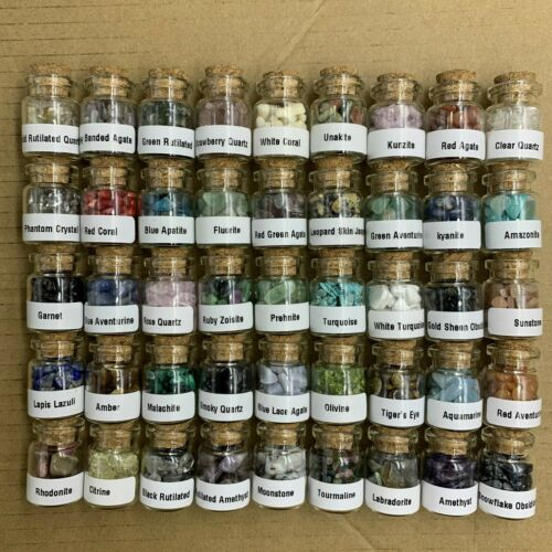 45 Pcs Natural Crystal And Gemstone Wish Bottles Chakra Wicca Tumbled Stone Set