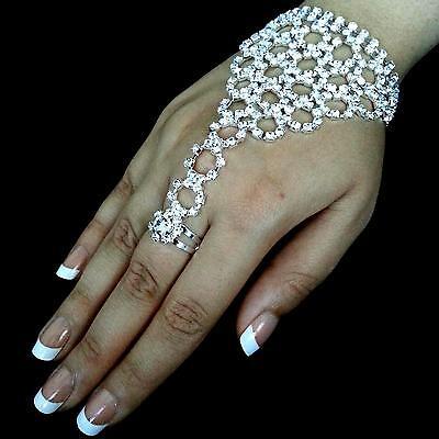 Belly Dance Handschmuck Ring Sklavenarmband Strass Hochzeit (Bollywood Armband)