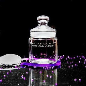 Personalised Engraved 0.75L Glass Sweet /Biscuit /Cookie /Storage Jar, Birthday!