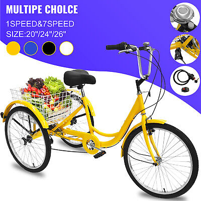 """20/24/26"""" Adult Tricycle 1/7 Speed 3-Wheel For Shopping with"""