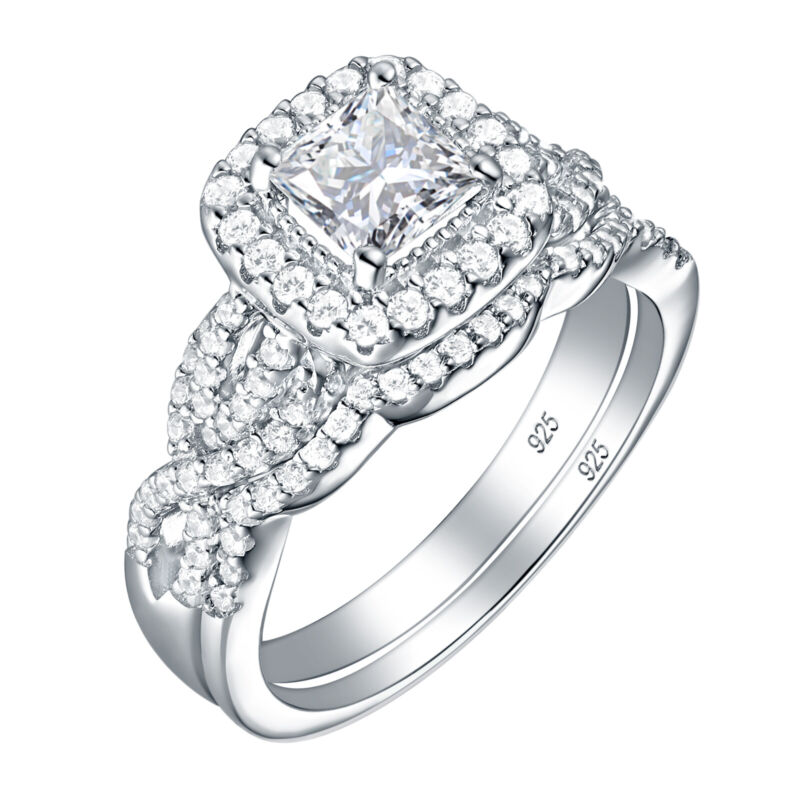 Engagement Ring Wedding Band Set For Women Princess Aaaa Cz 925 Sterling Silver