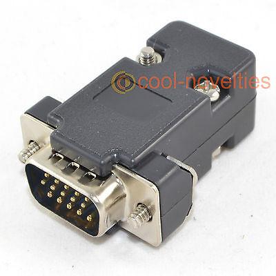 DB15HD 15 WAY D SUB VGA MALE HD PLUG CONNECTOR WITH BLACK HOOD/SHELL (15 -