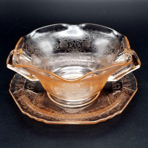 Vintage Hazel Atlas Glass Pink Florentine Poppy #1 Cream Soup Bowl & Underplate