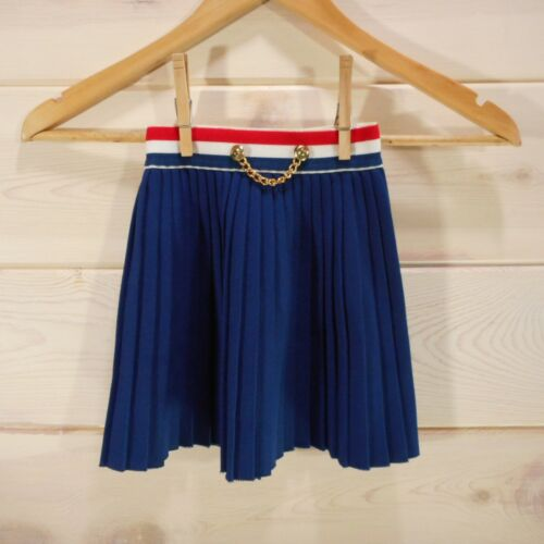Vintage Girls Childrens Size 5-6 Skirt Pleated Preppy Kids Navy Chain