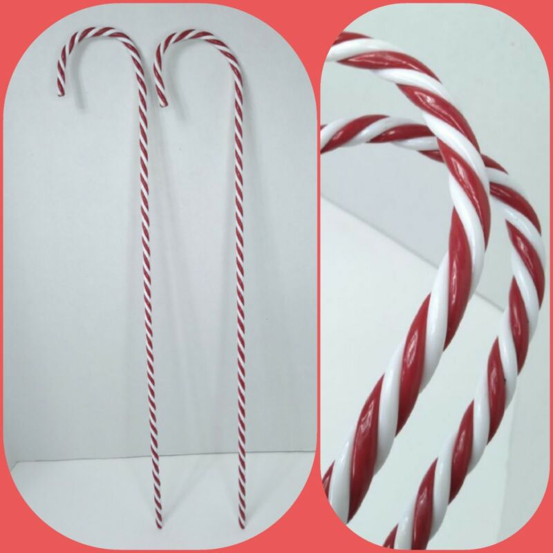 """2 Large 30"""" Vintage Candy Cane Twisted Resin Indoor Outdoor Christmas Decoration"""