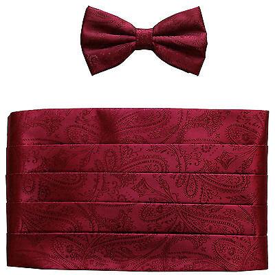 Neu in Box 100% Polyester Paisleys Kummerbund & Bowtie Satz Hochzeit Burgund Rote Paisley Bowties