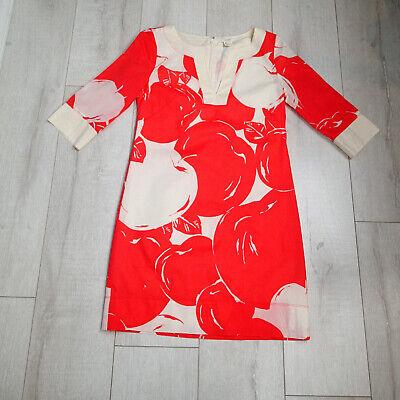 J CREW ORANGE-red CREAM BIG APPLE TUNIC DRESS 3/4 SLEEVE Size 00