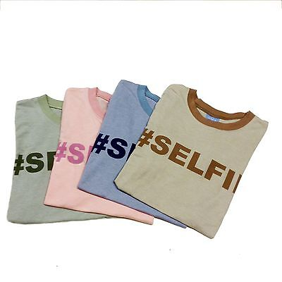 Womens T shirt Graphic Tee Top Hashtag SELFIE Text, Pink Blue Green COMFY TEES .