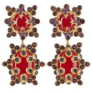 Christie Nicolaides Lucia Clip On Earrings Red & Amethyst West End Brisbane South West Preview