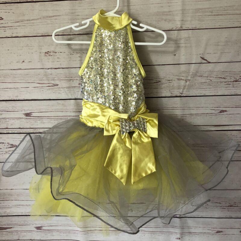 *NEW Weissman Dance Costume Skate Dress XSC 4/5 Child X-Small Yellow Sleeveless