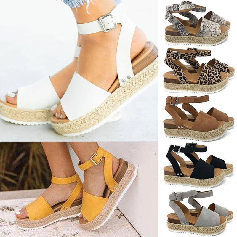 Women Summer Sandals Platform Open Toe Espadrilles Wedge Hee