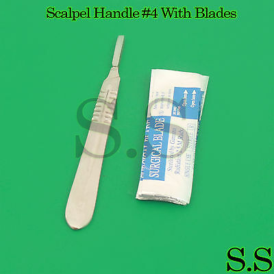 Lot Of 10 Scalpel Blades 22 With 4 Metal Handle Suitable For Dermaplaning