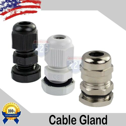 NPT14 - NPT34 Black/White/Brass Tight Cord Grip Cable Gland w/ Lock-Nut & Gasket