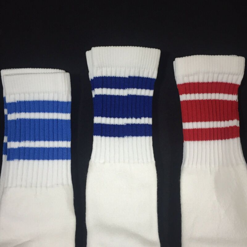 Lot of 3 Pairs Vintage boys High Athletic Thick Tube Socks Striped NEW