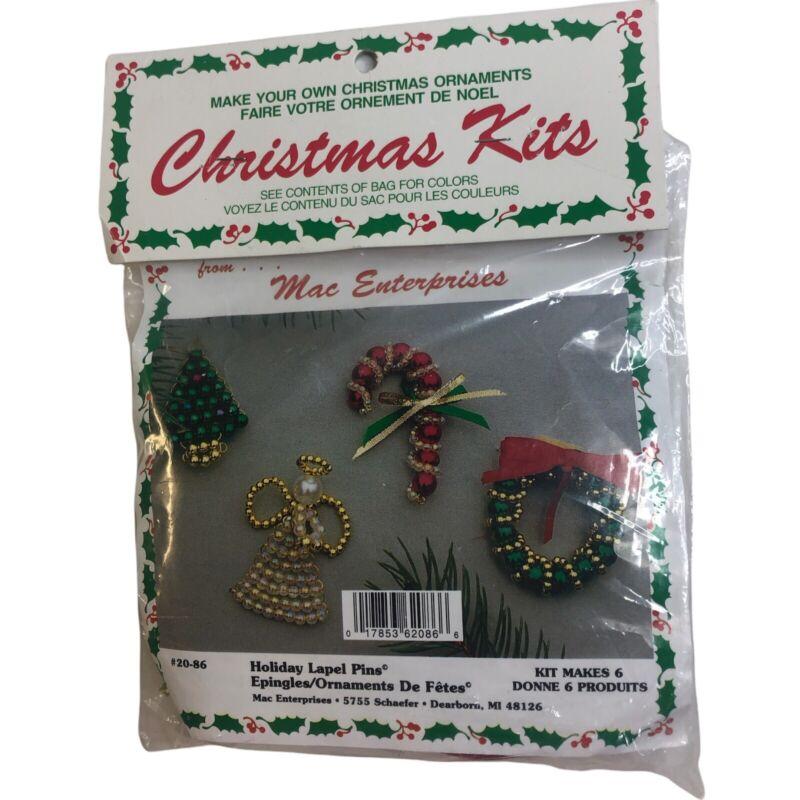 Unopened Vintage Merri Mac Holiday Lapel Pins Set Of 4 Tree Angel Wreath Candy