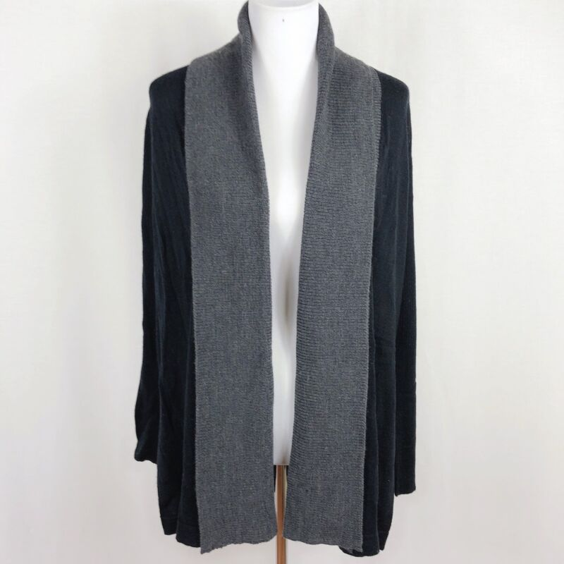 NEW A Pea In The Pod Maternity Women Large Black Gray Long Cardigan Sweater