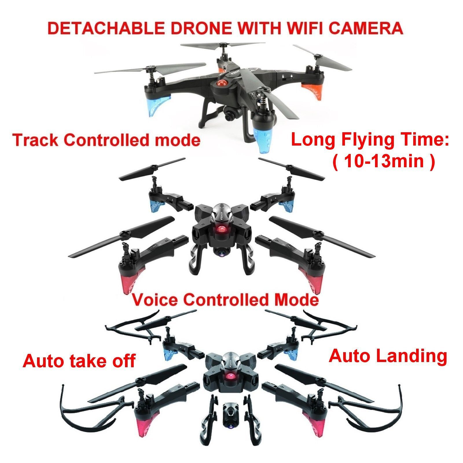 Drone Detachable FQ20 with HD and WIFI Video Camera Live View FPV Quadcopter UK