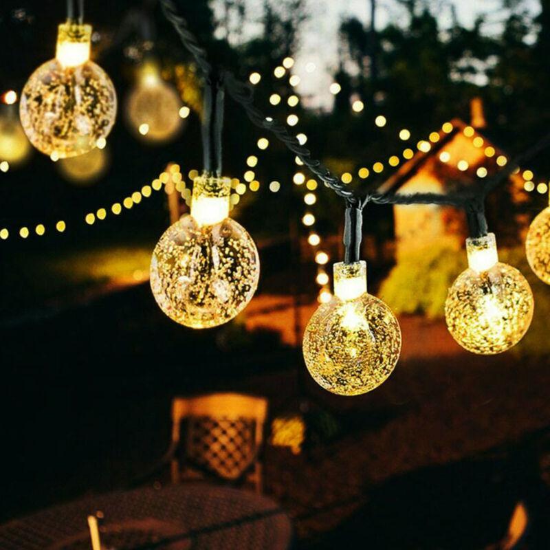 100 200 LED Solar Lichterkette Kette Weihnachtsbaumkette Außen Garten Party DHL