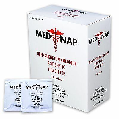 (100) Antiseptic Wipe Towelettes Benzalkonium BZK First Aid  Med-Nap #3303
