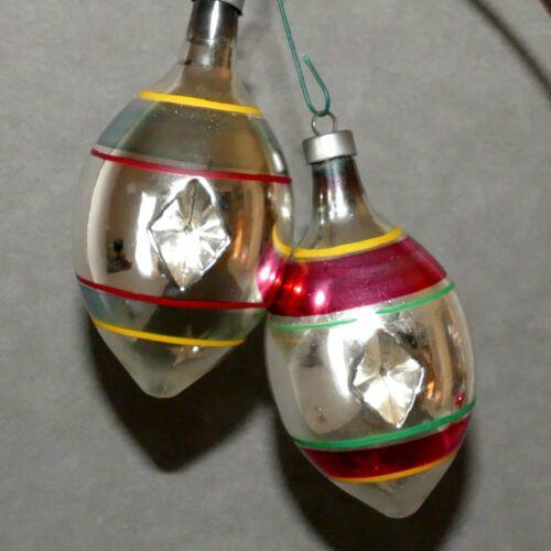 Christmas Ornament Glass DOUBLE INDENT Stripe Silver Red Lot of 2 USA SELLER