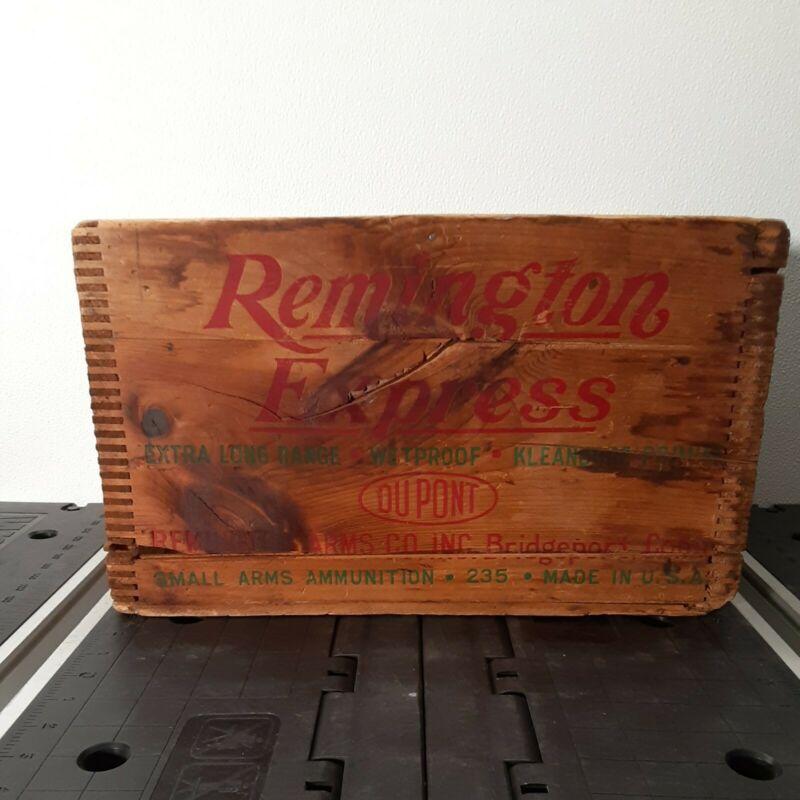 Old Vintage Remington Advertising Wooden Dovetail Shell Ammo Box Crate