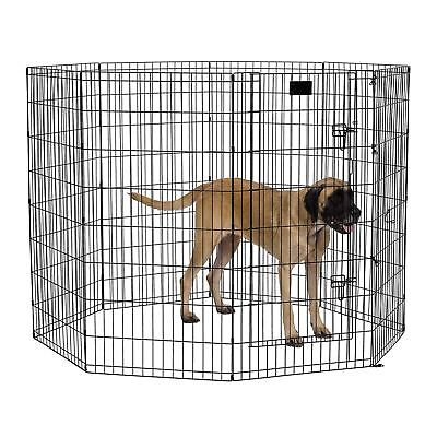 """48"""" Dog Exercise Play Pen Folding Indoor Outdoor Cage Fence Pet Large Kennel"""