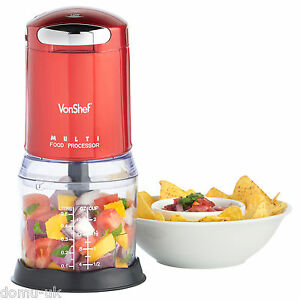 VonShef Food Processor Chopper Mini Kitchen Electric 250W Mixer Blender Red