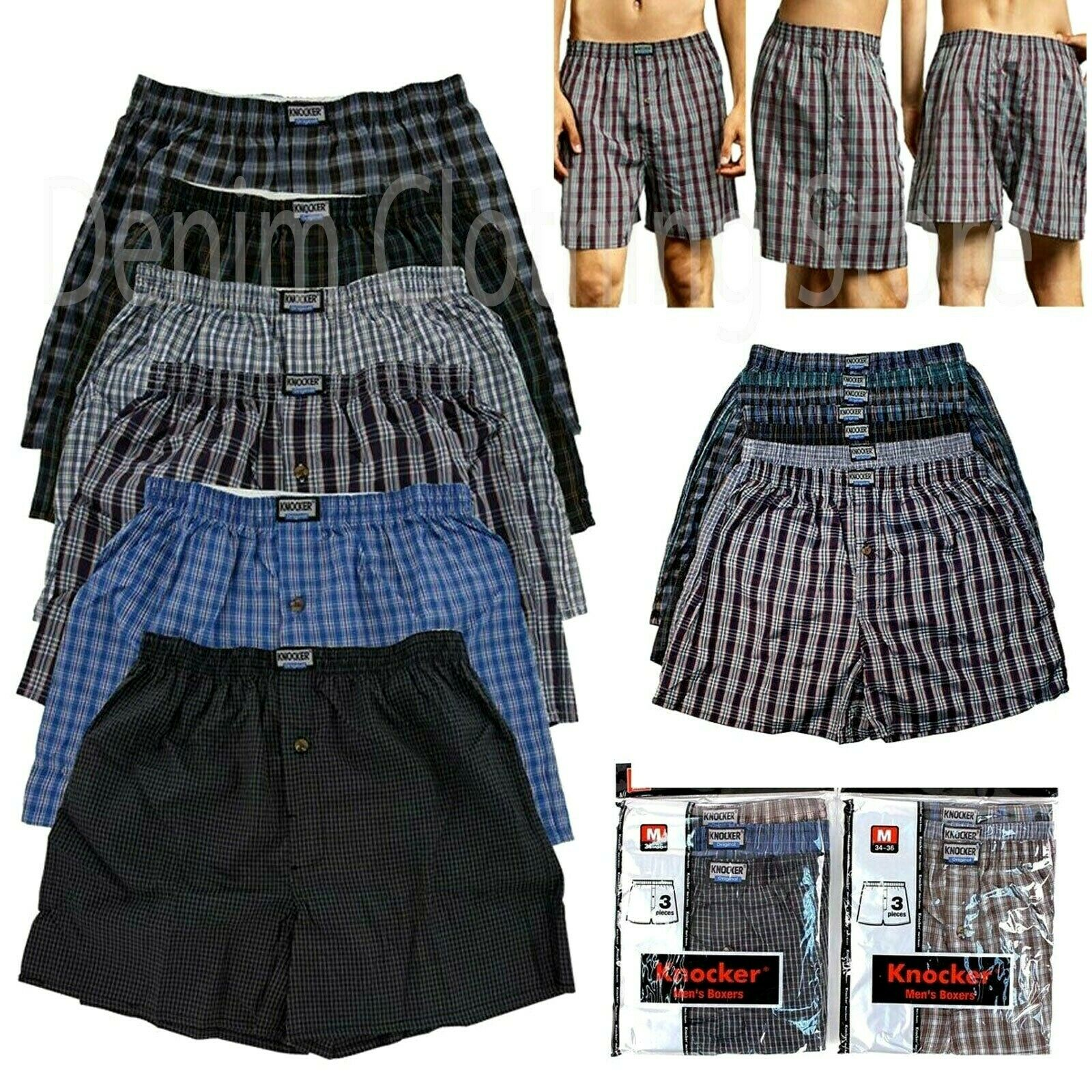 Men Knocker Boxer Trunk 3 6 12 Pack Lot Plaid Shorts Checker