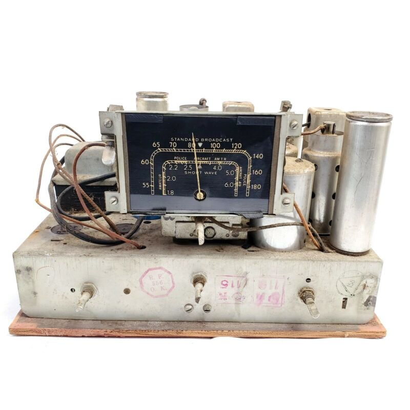 For Repair Or Parts RCA Victor 5T Tube Radio Chassis Only ShortWave Tombstone
