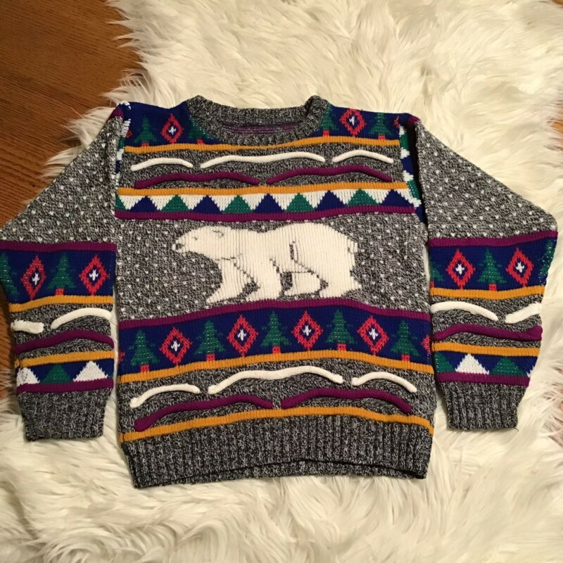 Vintage Heartworks Pullover Sweater Polar Bear