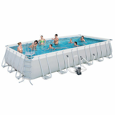 "Bestway 24'x12'x52"" Rectangular Frame Above Ground Swimming Pool Set 