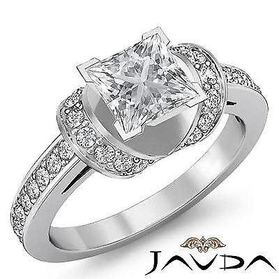 Women's Knot Style Pave Setting Princess Diamond Engagement Ring GIA G VS2 1.5Ct