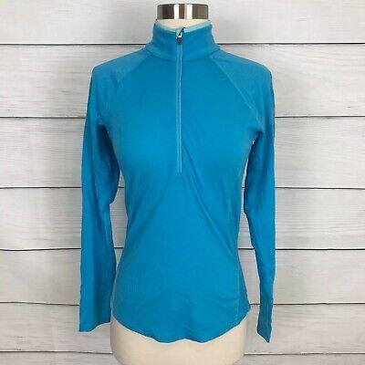 Icebreaker Merino 200 Bodyfit Blue Long Sleeve Base Layer Top Small S 1/4 Zip