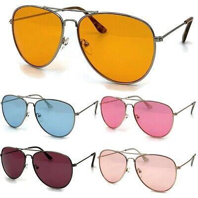 Color Tinted Lens Pilot Vintage Sunglasses Gold Frame Glasses Orange Retro (Orange Frame Sunglasses)