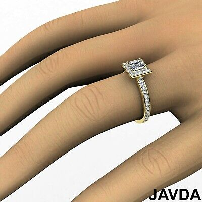 Halo Cathedral Micro Pave Princess Cut Diamond Engagement Ring GIA F SI1 0.95Ct 6