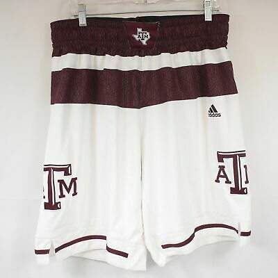 Adidas Mens XL Red Maroon White Stripe Texas A&M Aggies Basketball Shorts -