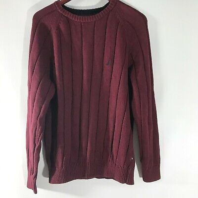 Nautica Sweater Crew Neck Pullover Maroon Long Sleeve Cotton Knit Size L Large