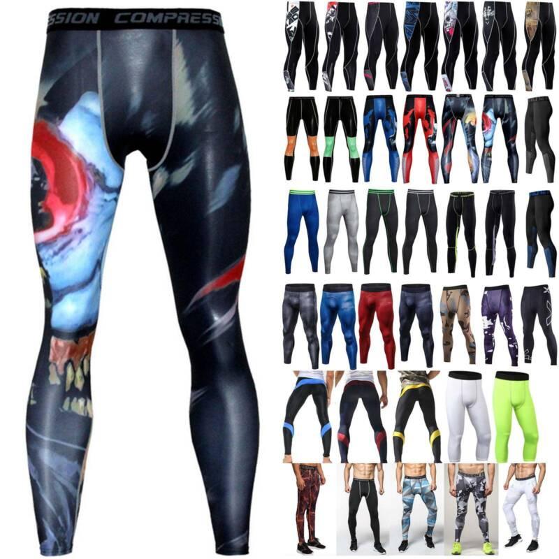 Men Compression Leggings Under Base Layer Pants Fitness Spor